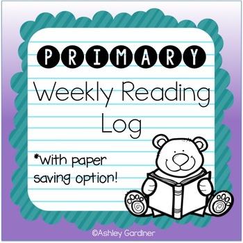 Kindergarten Weekly Reading Log {Reading Log for Kindergarten}