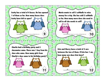 Primary Word Problems Task Cards (No Multiple Choice Version)