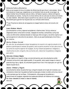 Word Study Homework Instructions for Parents - Spanish and English