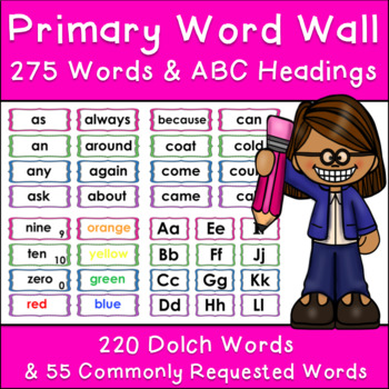 Primary Word Wall Set - 275 Words with Letter Headings - Low Color Ink