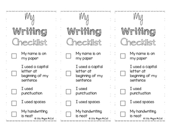 Primary Writing Checklist