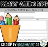 Primary Writing Lined Paper: Horizontal with Checklist