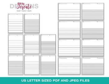 Primary Writing Lined Digital Paper | Horizontal • Vertical | Editable Files