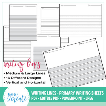 Primary Writing Lined Digital Paper | Horizontal • Vertical ...