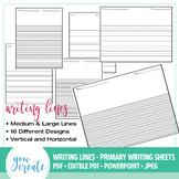 Primary Writing Lined Digital Paper | Horizontal • Vertica