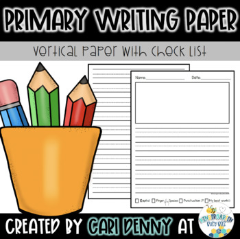 Primary Writing Lined Paper: Vertical with Check List
