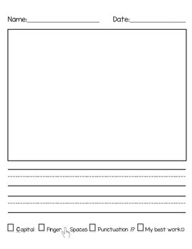 Primary Writing Lined Paper: Vertical with Check List 2