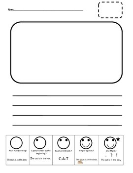 Primary Writing Page with Smiley Face Checklist for Fun Student Self Assessing