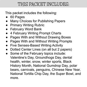 Primary Writing Paper: February Paper & Prompts- Black History & Valentines, Etc