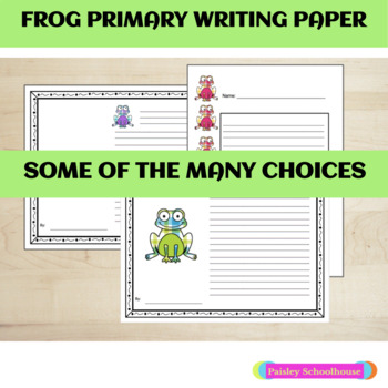 Primary Writing Paper: Frogs (Plaid) With Picture Boxes & Without
