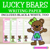 Primary Writing Paper: Lucky Bears, St. Patrick's Day - With Picture Boxes