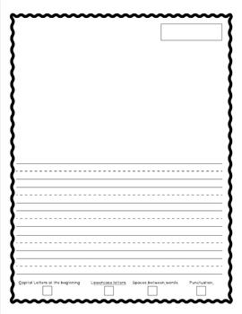 Primary Writing Paper with Checklist