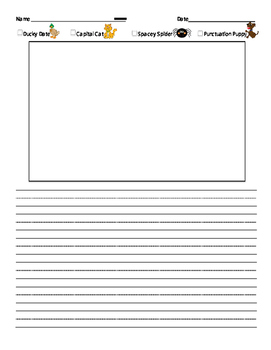 Primary Writing Paper with Editing Checklist