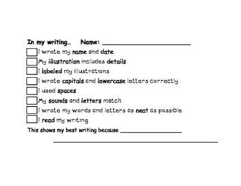 Primary Writing Paper with Self Assessment