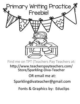 Primary Writing Practice Freebie