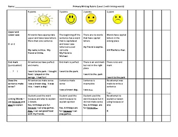 Primary Writing Rubric Level 2 - RtI Data Collection and Assessment