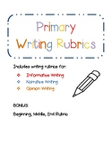 Primary Writing Rubrics- Opinion, Informative, and Narrative