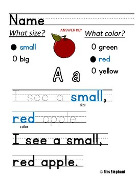 Primary Writing To Describe Using Your ABC's
