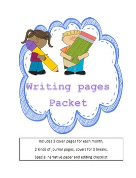 Primary Writing journals - 3 covers and 3 different formats each month