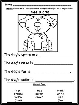 Primary Writing {using color words!}