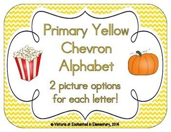 Primary Yellow Chevron Alphabet Cards