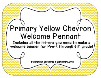 Primary Yellow Chevron Welcome Pennant