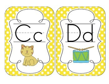 Primary Yellow Polka Dot Alphabet Cards