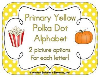 Primary Yellow Polka Dot Alphabet Cards