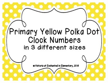 Primary Yellow Polka Dot Clock Numbers