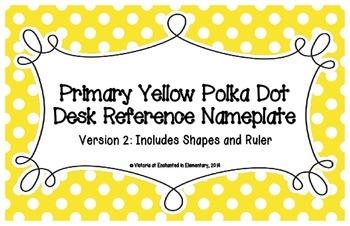 Primary Yellow Polka Dot Desk Reference Nameplates Version 2