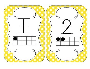 Primary Yellow Polka Dot Number Cards 1-20
