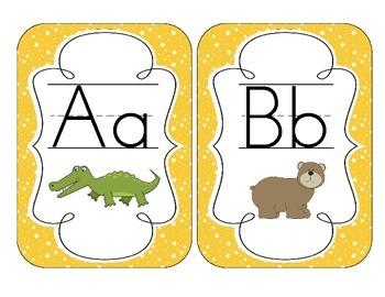 Primary Yellow Starry Skies Alphabet Cards