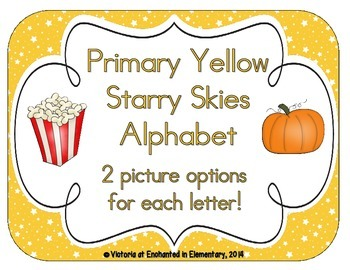 Primary Yellow Starry Skies Alphabet Cards