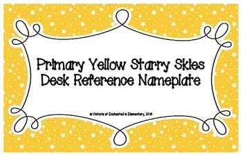 Primary Yellow Starry Skies Desk Reference Nameplates