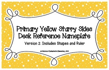 Primary Yellow Starry Skies Desk Reference Nameplates Version 2