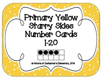 Primary Yellow Starry Skies Number Cards 1-20