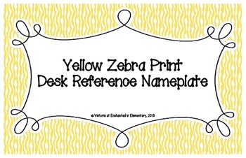 Primary Yellow Zebra Print Desk Reference Nameplates