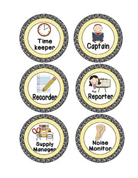 Primary Zebra Print Cooperative Group Roles- Posters and Student Tags