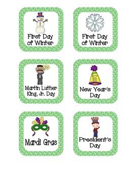 Primary Zebra Print Holiday Calendar Pieces