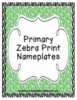 Primary Zebra Print Nameplates