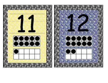 Primary Zebra Print Number Cards 1-20