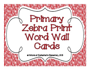 Primary Zebra Print Word Wall Cards