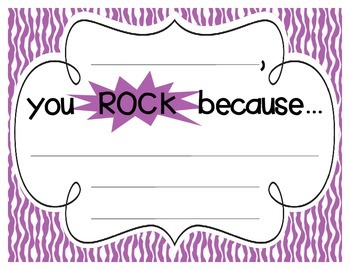"Primary Zebra Print ""you ROCK because..."" Student Recognition Signs"