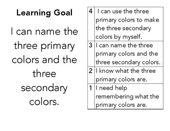 Primary and Secondary Color Learning Goal and Scale