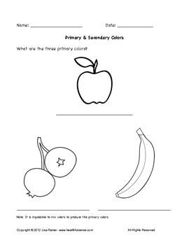 primary and secondary colors worksheet with fruit by lisa rainer. Black Bedroom Furniture Sets. Home Design Ideas