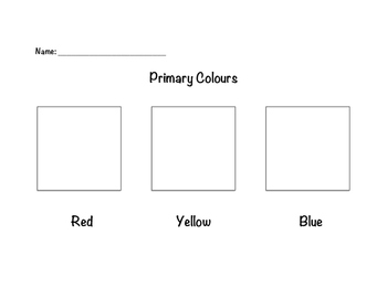 Primary and Secondary Colour Worksheets