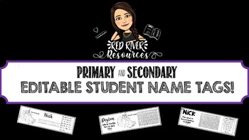 Primary and Secondary Editable Student Name Tags!