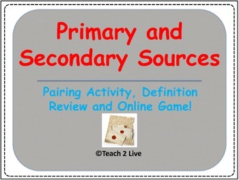 Introduction to Global History - Primary and Secondary Source Activity