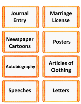Primary and Secondary Source Activity Cards