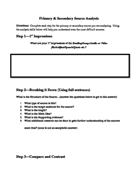 Primary and Secondary Source Analysis Activity